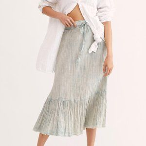 Mellow Acid Wash Midi Skirt